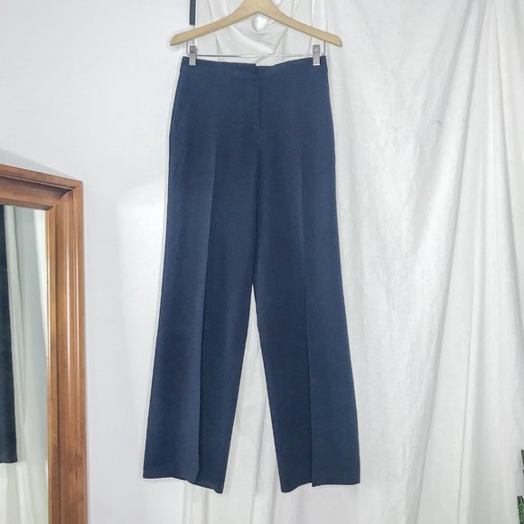 MaxMara Pants - Max Mara Studio Navy High Rise Wide Leg Trousers